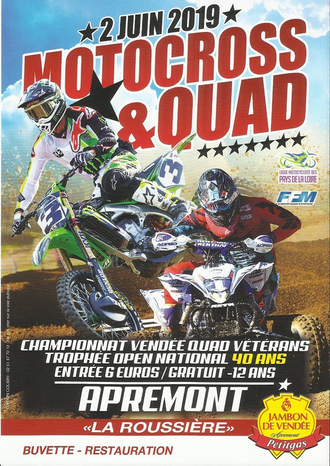 Info Motocross - épreuve Apremont (85) 2 juin