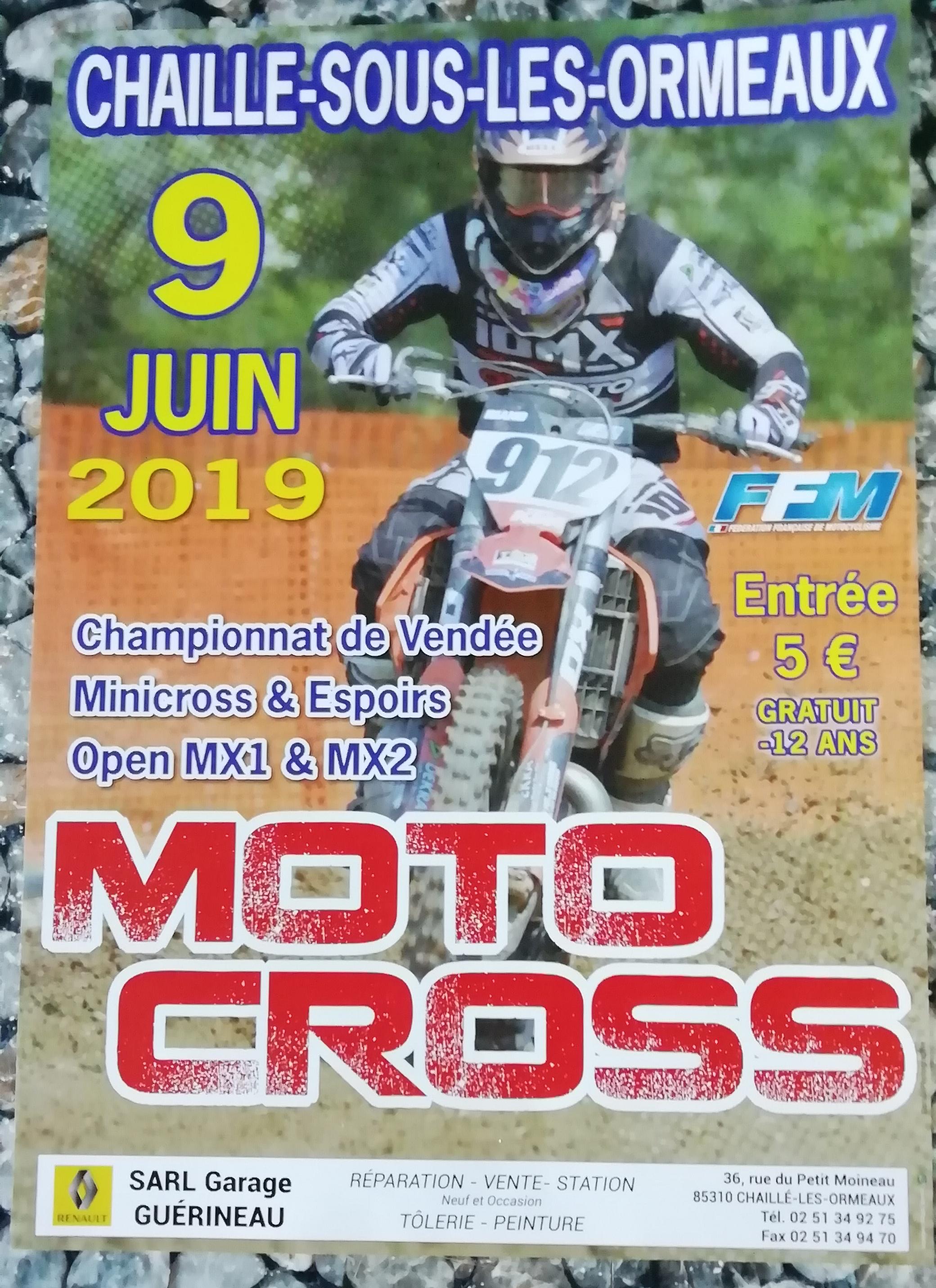 Info Motocross - épreuve Chaillé sous les ormeaux (85) 9 juin