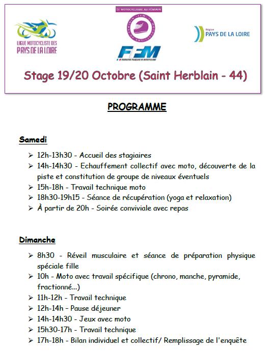 Info Ligue - Journée Féminines 19 et 20 octobre Saint Herblain (44) PROGRAMME