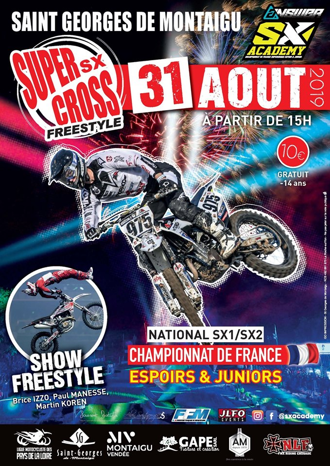 Info Supercross - épreuve Saint Georges de Montaigu (85) 31 août