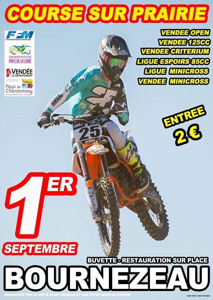 Info Course sur Prairie - épreuve Bournezeau (85) 1er septembre