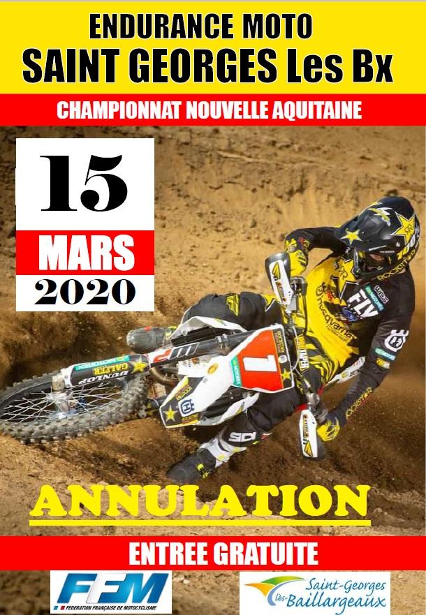 Infos Endurance TT - Annulation St Georges Les Baillargeaux (86) 15 mars