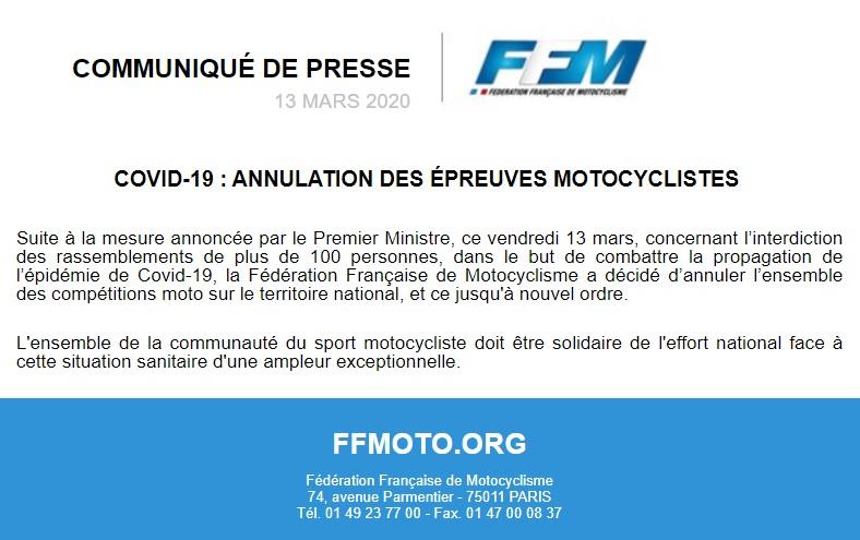 Infos Ligue - Annulation de toutes les épreuves Moto