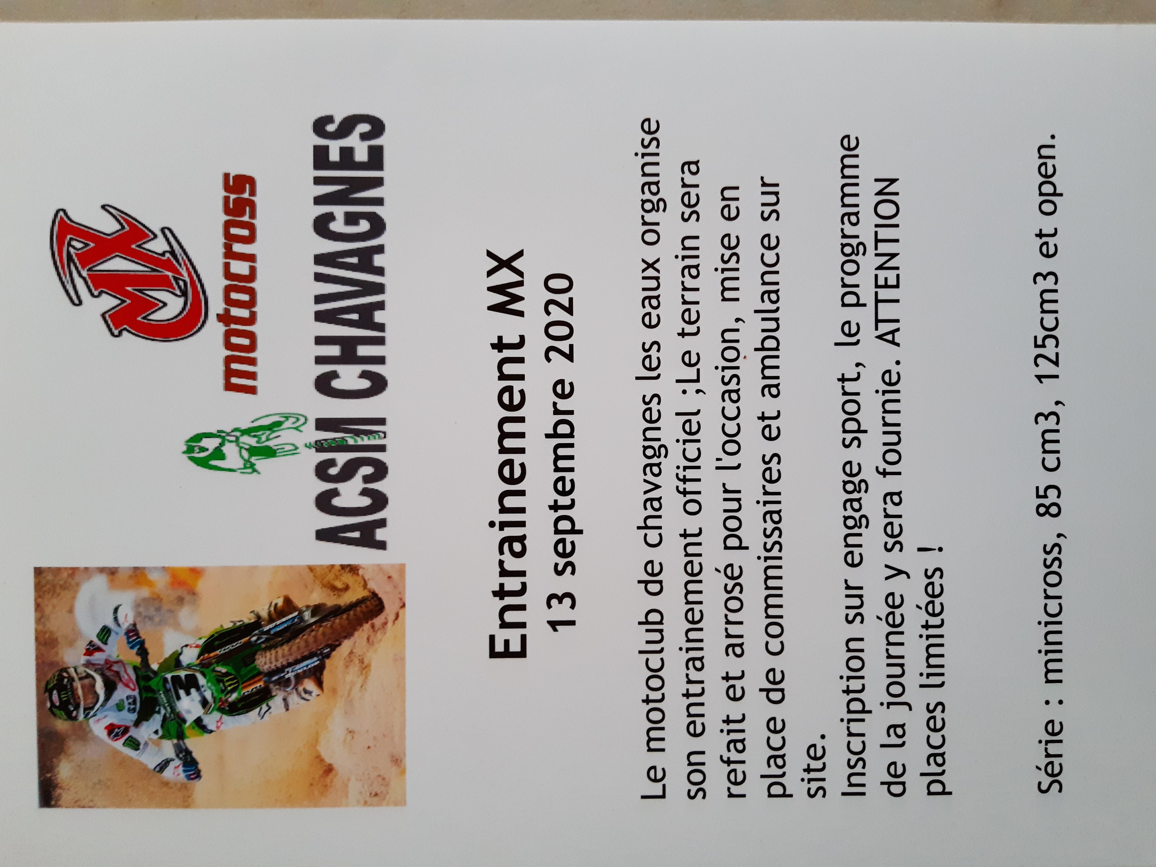 Infos Motocross - Entrainement Chavagnes (49) 13 septembre